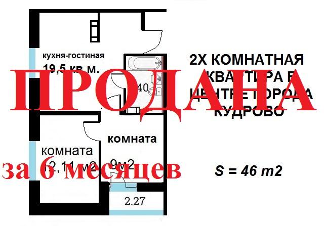 2-к квартира 46 м² в Кудрово, Европейский проспект, 13/6, ЖК